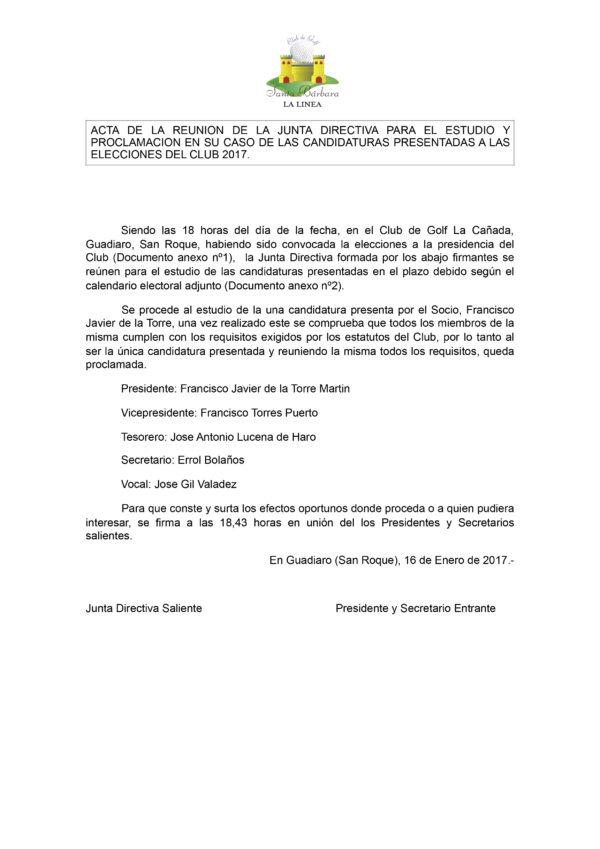 ACTA DE LA REUNION DE LA JUNTA DIRECTIVA PARA EL ESTUDIO Y PROCL